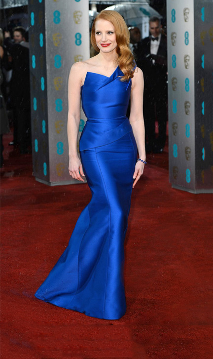 Bafta Jessica Chastain Roland Mouret Sleeveless One Shoudler Long Mermaid Royal Blue Satin Prom Dress