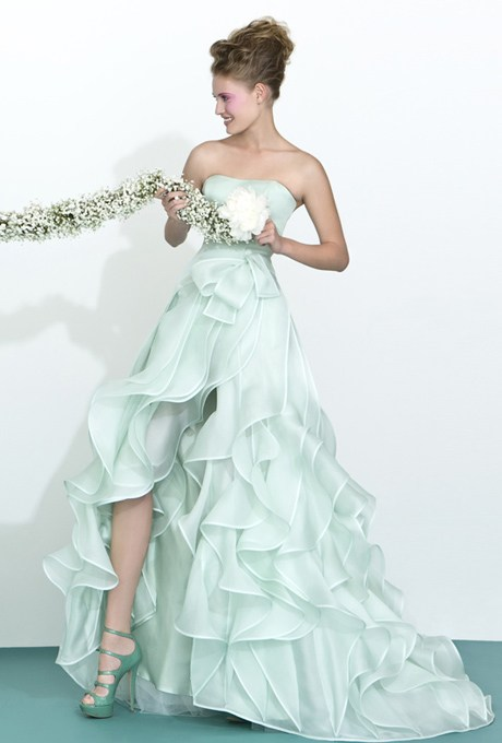 Strapless Cascaded Organza Split Front Long Prom Dress