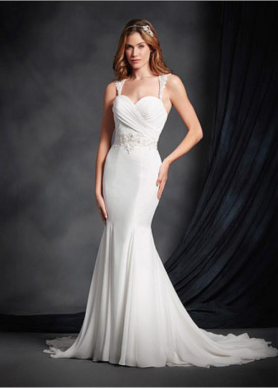 Simple A-line Shoulder Straps Lace Appliques Long Chiffon Beach Wedding Dress