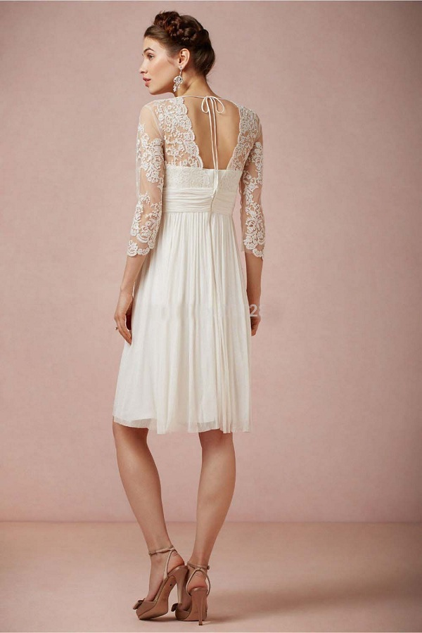 Charming A-line V Neck 3/4 Length Sleeve Short Chiffon Wedding Dress