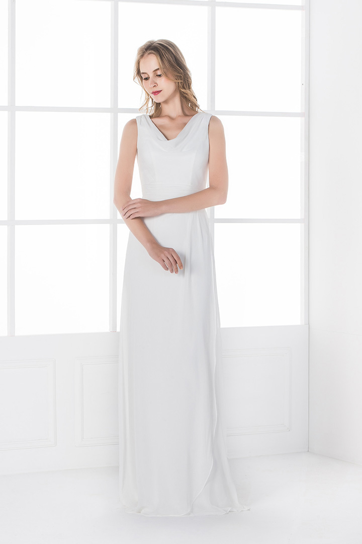 A-line V-neck Sleeveless Floor-length Beach Wedding Dresses