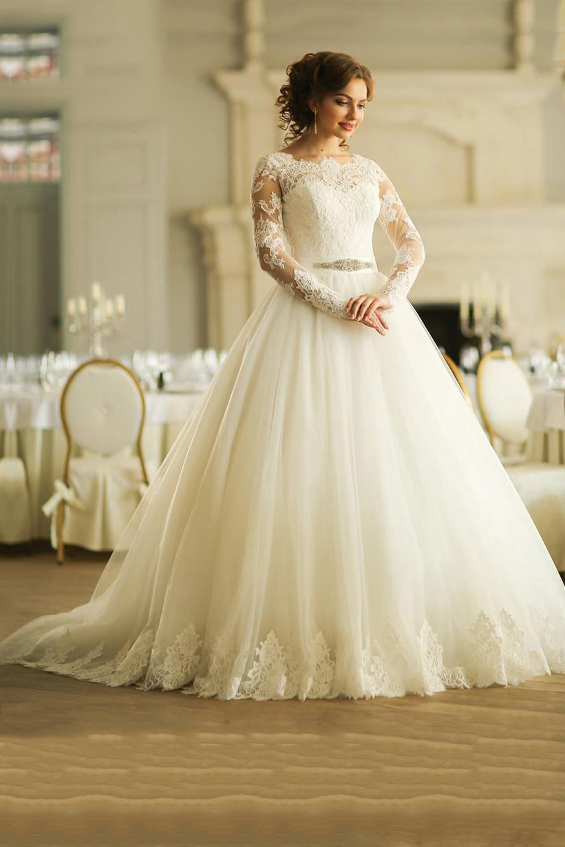 Long Sleeve Lace Bodice Ball Gown Tulle Wedding Dress with Crystal