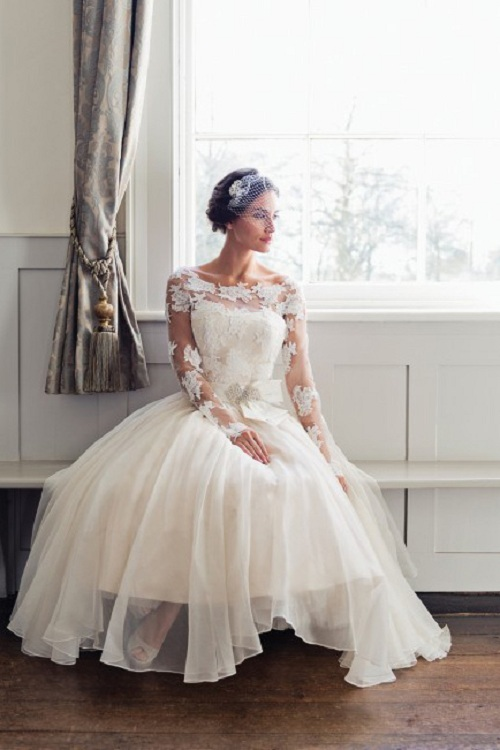 Florla Long Lace Sleeved Tea Length Organza Wedding Dress with Bow Ribbon