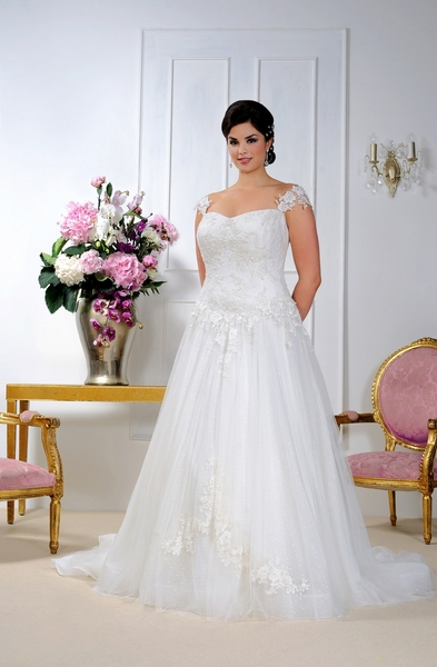Plus Size Sleeveless Court Train Long Tulle Wedding Dress with Lace Appliques