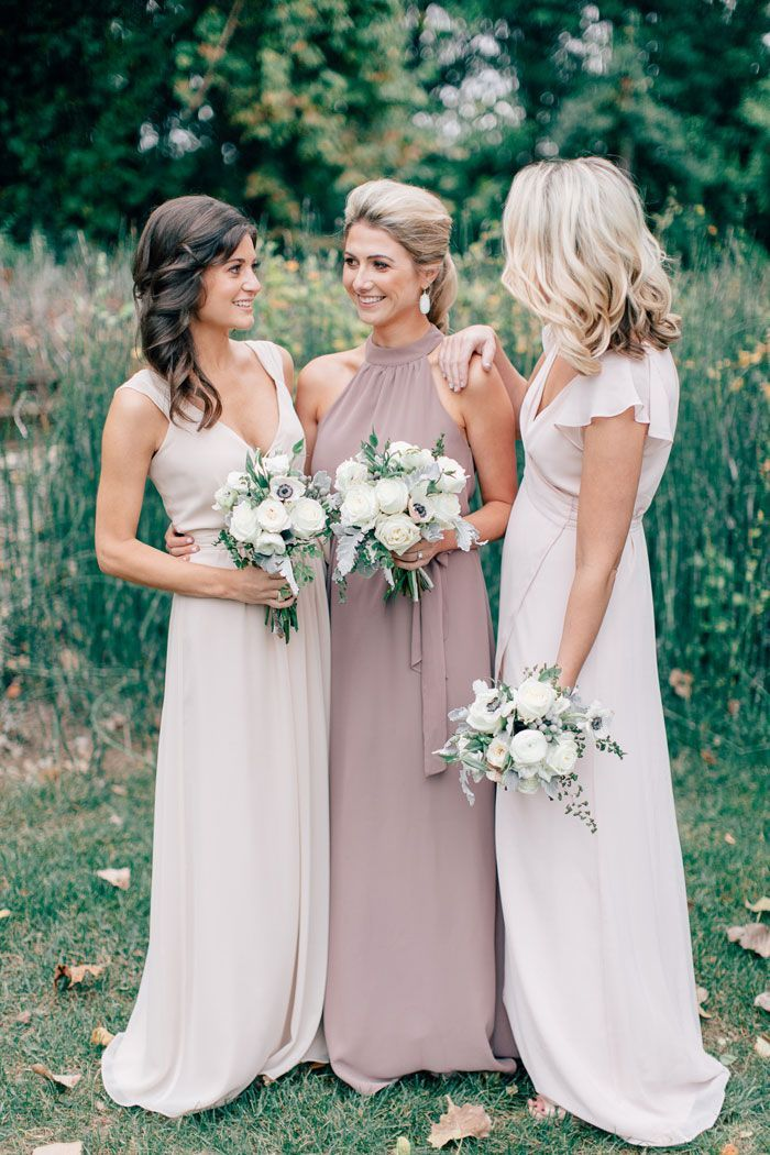 Halter Neck Sleeveless Long Chiffon Bridesmaid Dress with Zipper