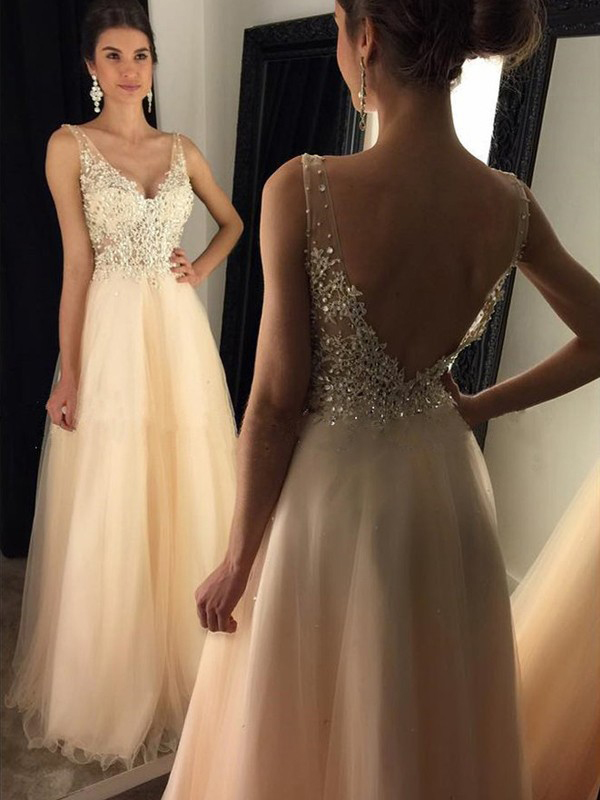 SleevelessV Neck Lace Bodice Long Champagne Tulle Prom Dress