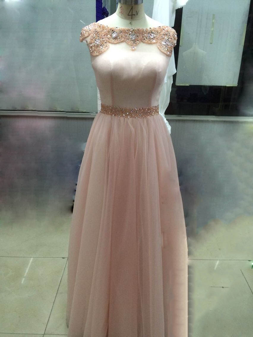 Bateau Illusion Neck Long A-line Blush Tulle Prom Dress