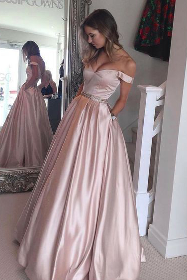 Off Shoulder Long Satin Prom Dress with Beading Band