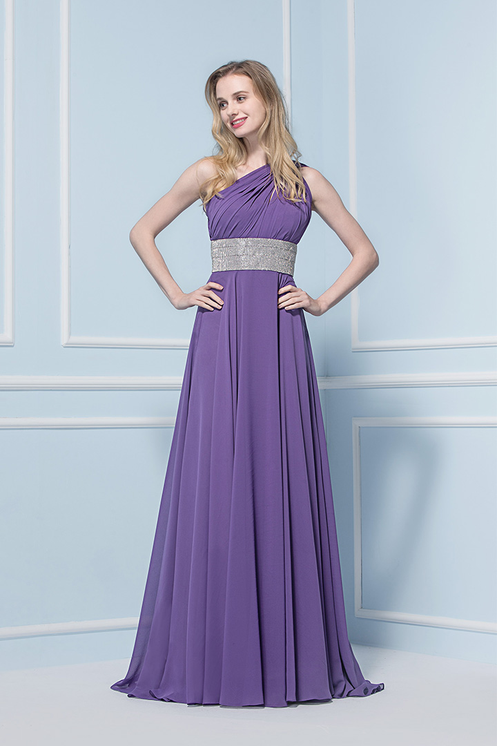 Sparkly Sleeveless One Shoulder Long Pleated Chiffon Bridesmaid Dress