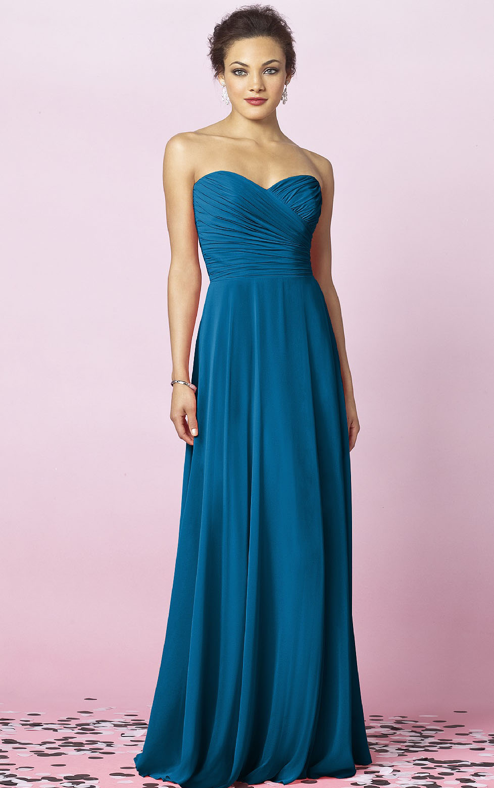 A-line Chiffon Floor-length Sweetheart Sleeveless Bridesmaid Dresses