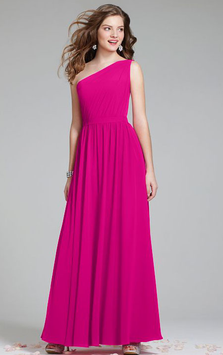 Chiffon One Shoulder Natural Floor-length Sleeveless Bridesmaid Dresses