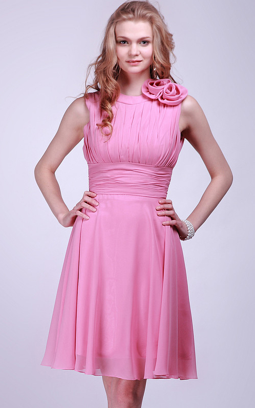 Knee-length A-line Chiffon None Natural Bridesmaid Dresses