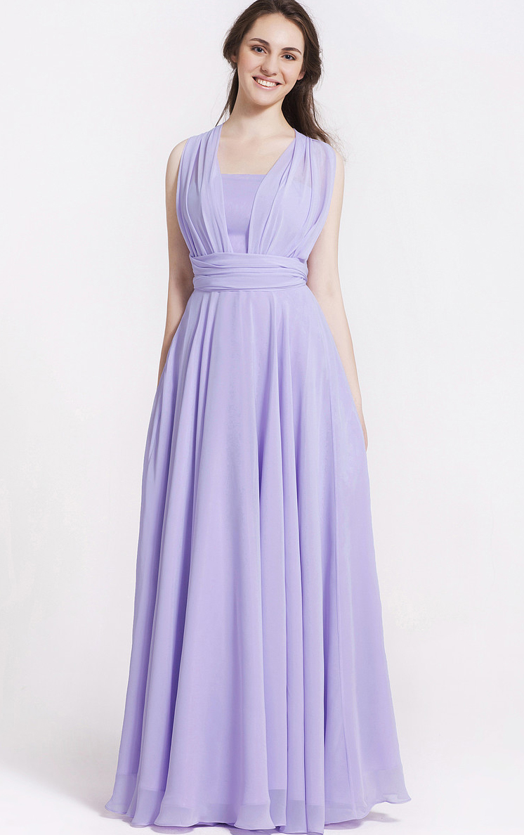 Shoulder Straps Princess Zipper Chiffon Bridesmaid Dresses