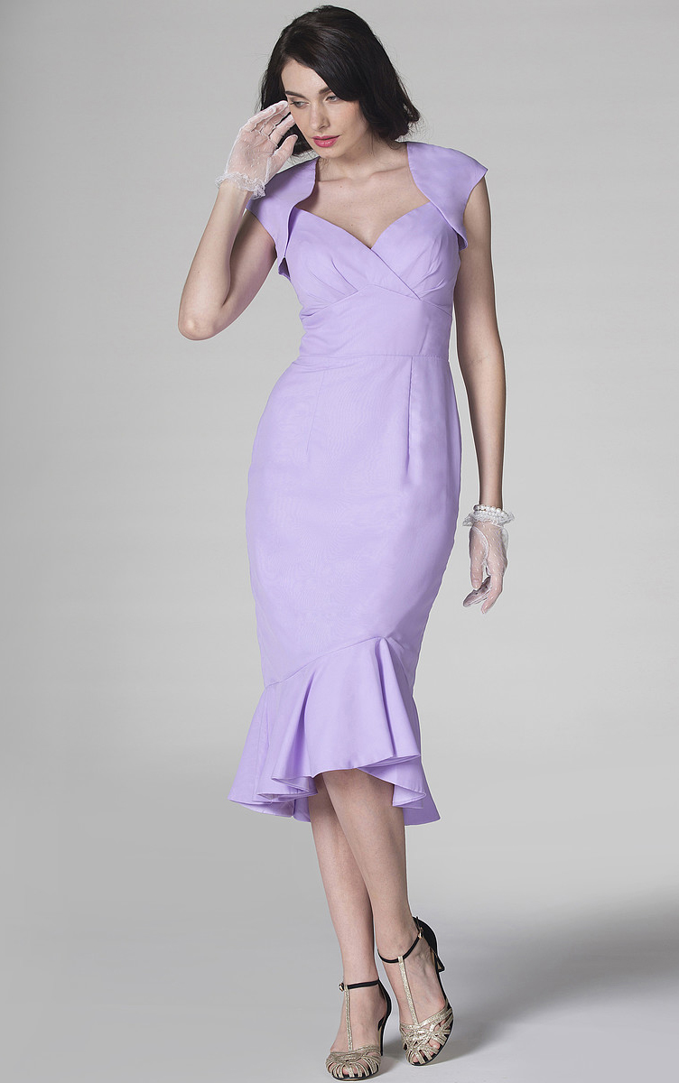 Natural Sleeveless Sheath Tea-length Zipper Bridesmaid Dresses