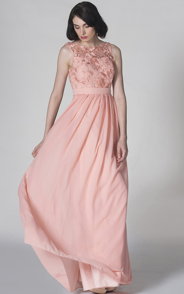 Jewel Neck Chiffon Floor-length Lace Bodice A-line Bridesmaid Dresses