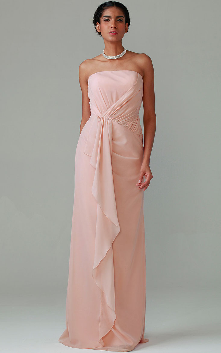 Natural Sleeveless Zipper Chiffon Strapless Bridesmaid Dresses