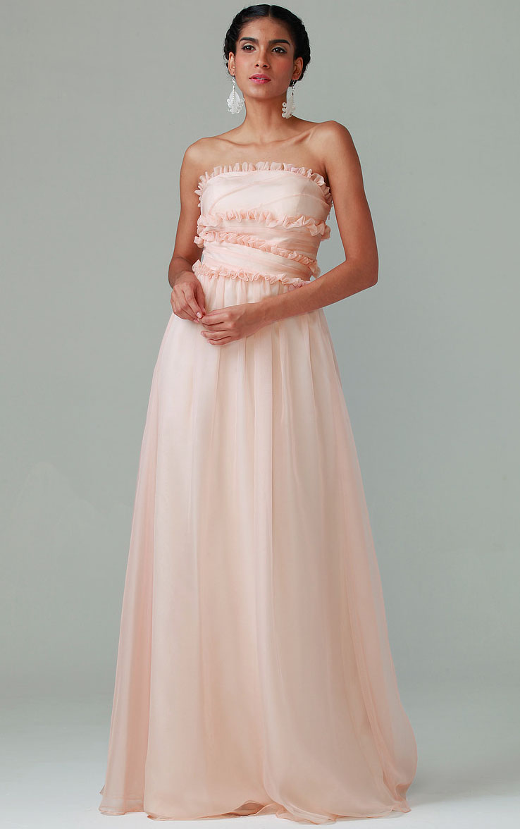 Floor-length Strapless Sleeveless None Natural Bridesmaid Dresses
