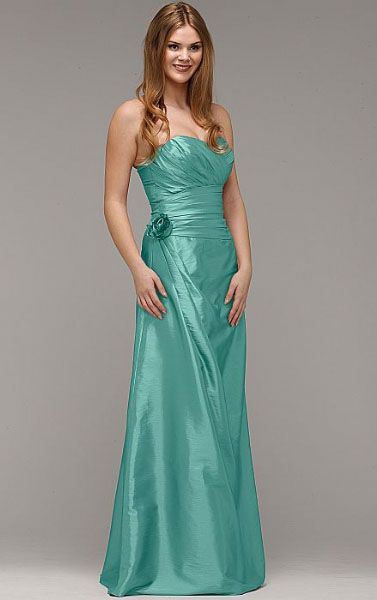 Floor-length Taffeta A-line Strapless Zipper Bridesmaid Dresses