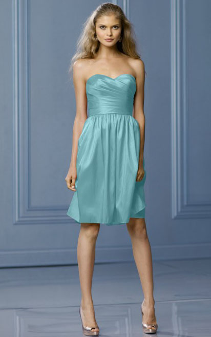 Knee-length Natural A-line None Strapless Bridesmaid Dresses