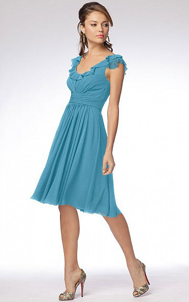 Knee-length Shoulder Straps Sleeveless A-line Natural Bridesmaid Dresses