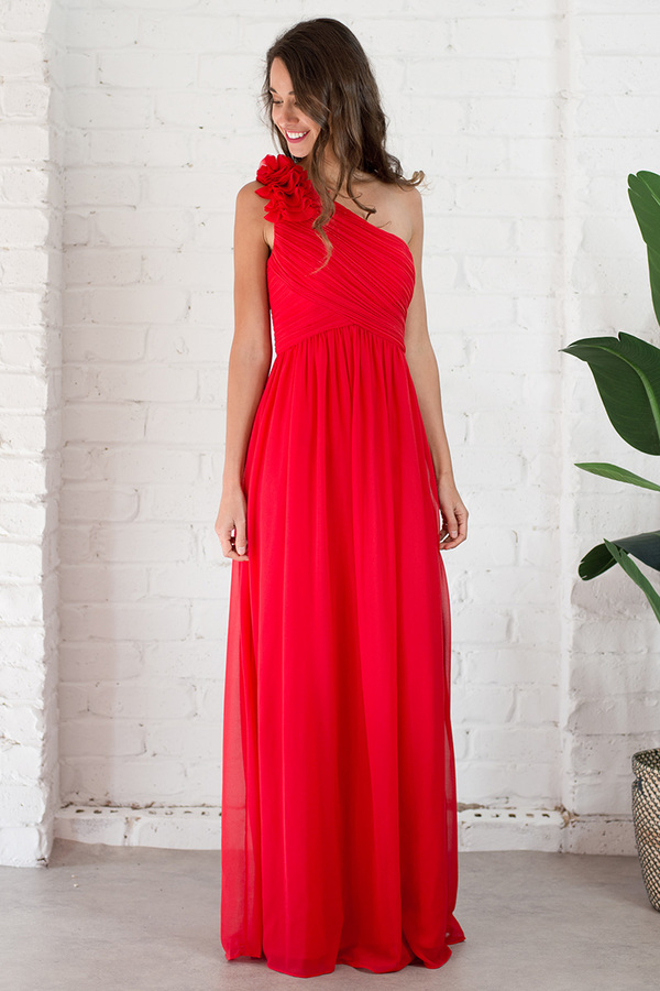 Red Sleeveless A-line One Shoulder Long Chiffon Bridesmaid Dress with Flowers