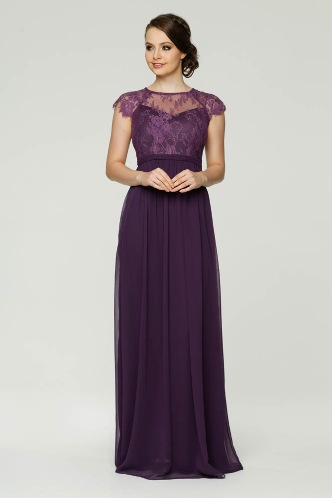Vintage Grape Lace Long Chiffon Cap Sleeve Bridesmaid Dress