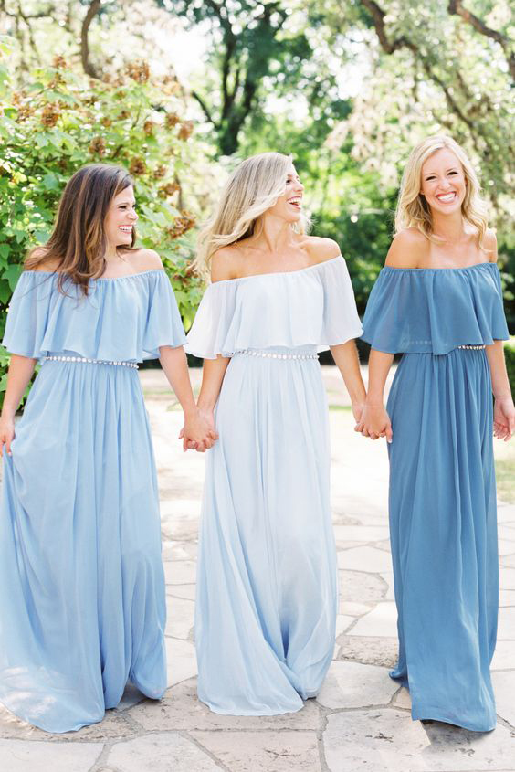 Casual Off Shoulder Long Soft Chiffon Bridesmaid Dress with Beaded Waist