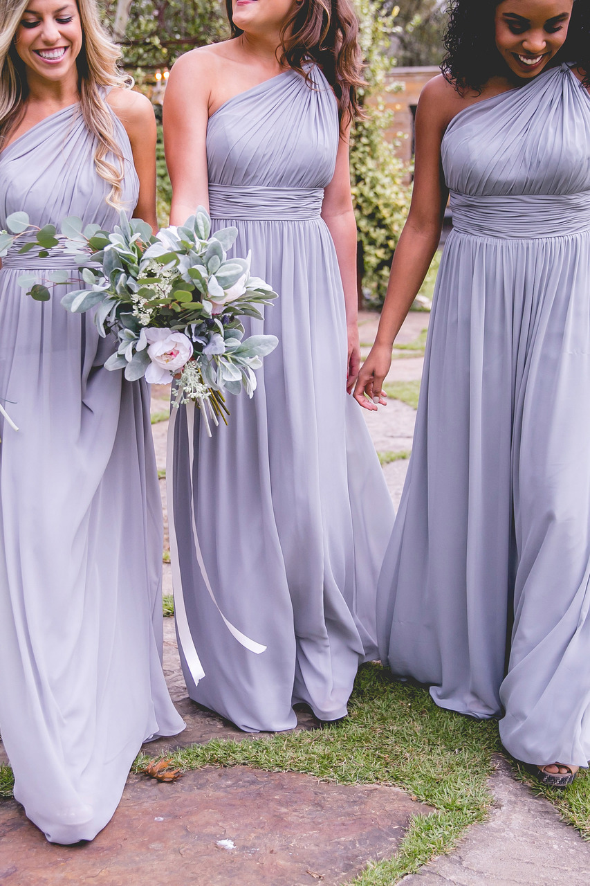 Sleeveless One Shoulder Pleated Long Chiffon Boho Bridesmaid Dress
