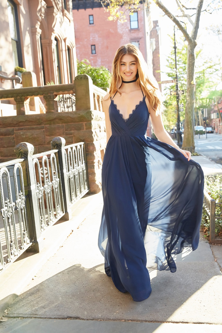 Navy Blue Halter A-line Long Chiffon Sleeveless Boho Bridesmaid Dress