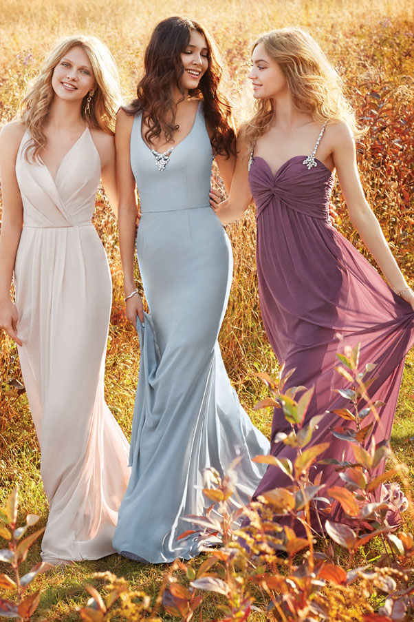 Sparkly Beaded Back A-line Long Blush Chiffon Bridesmaid Dress