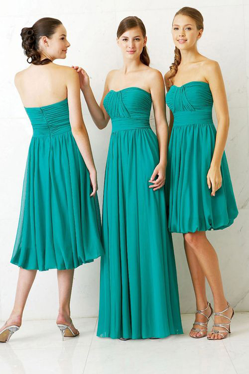 Long Strapless Sweetheart Pleated Jade Chiffon Bridesmaid Dress