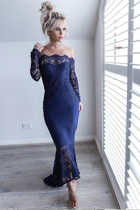 Tea Length Off Shoulder Lace Long Sleeved Bridesmaid Dresses