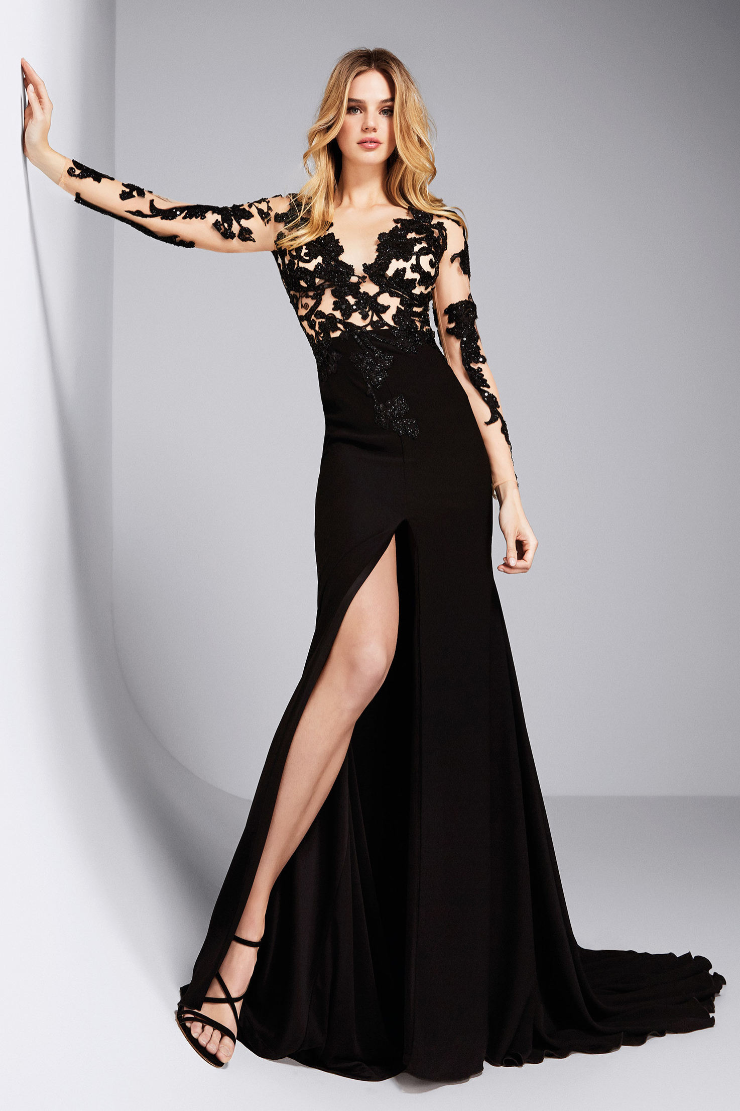 Long Illusion See-through Lace Top A-line Split Black Chiffon Prom Dress