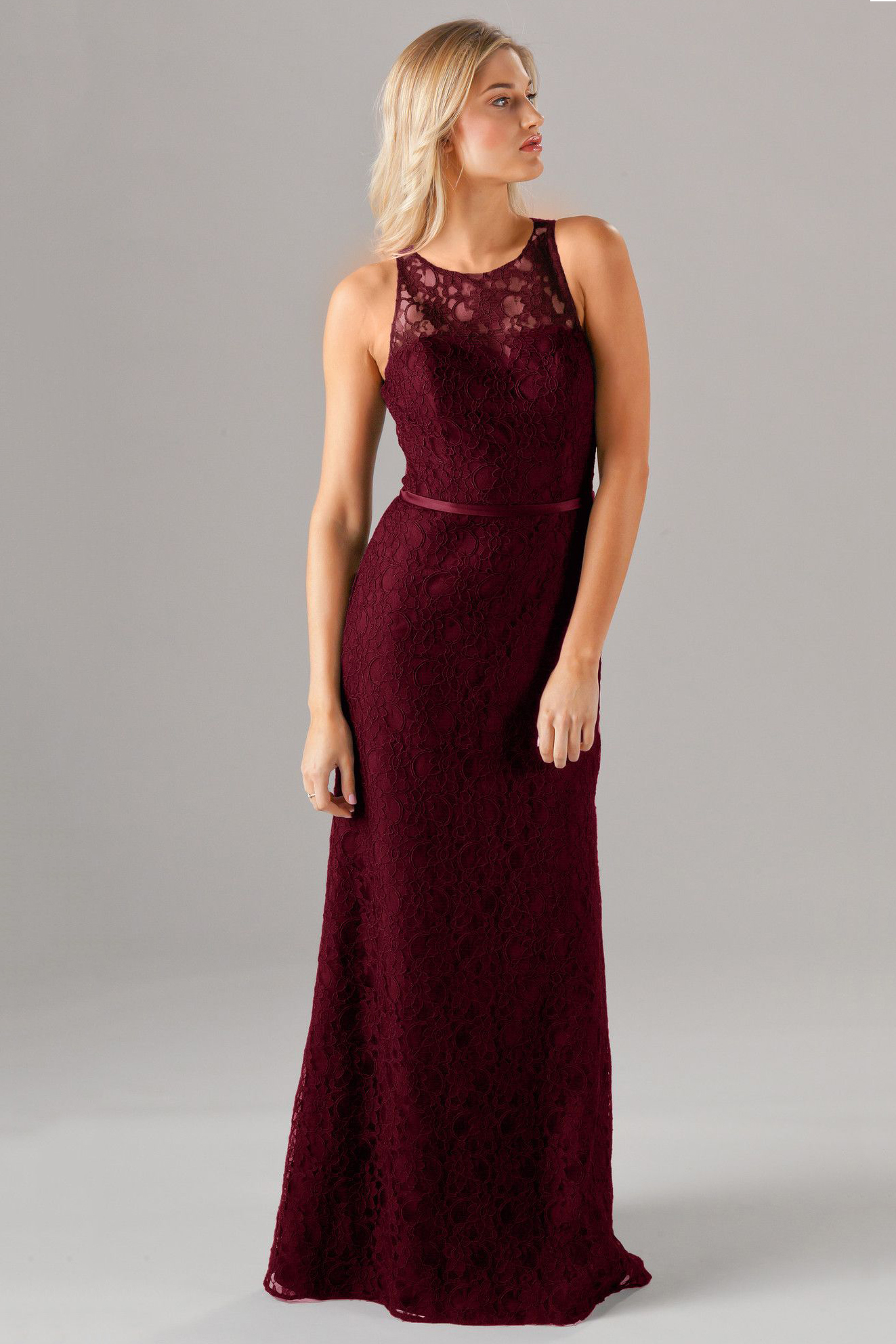 Sleeveless A-line Lace Bridesmaid Dress Slit with Ribbon