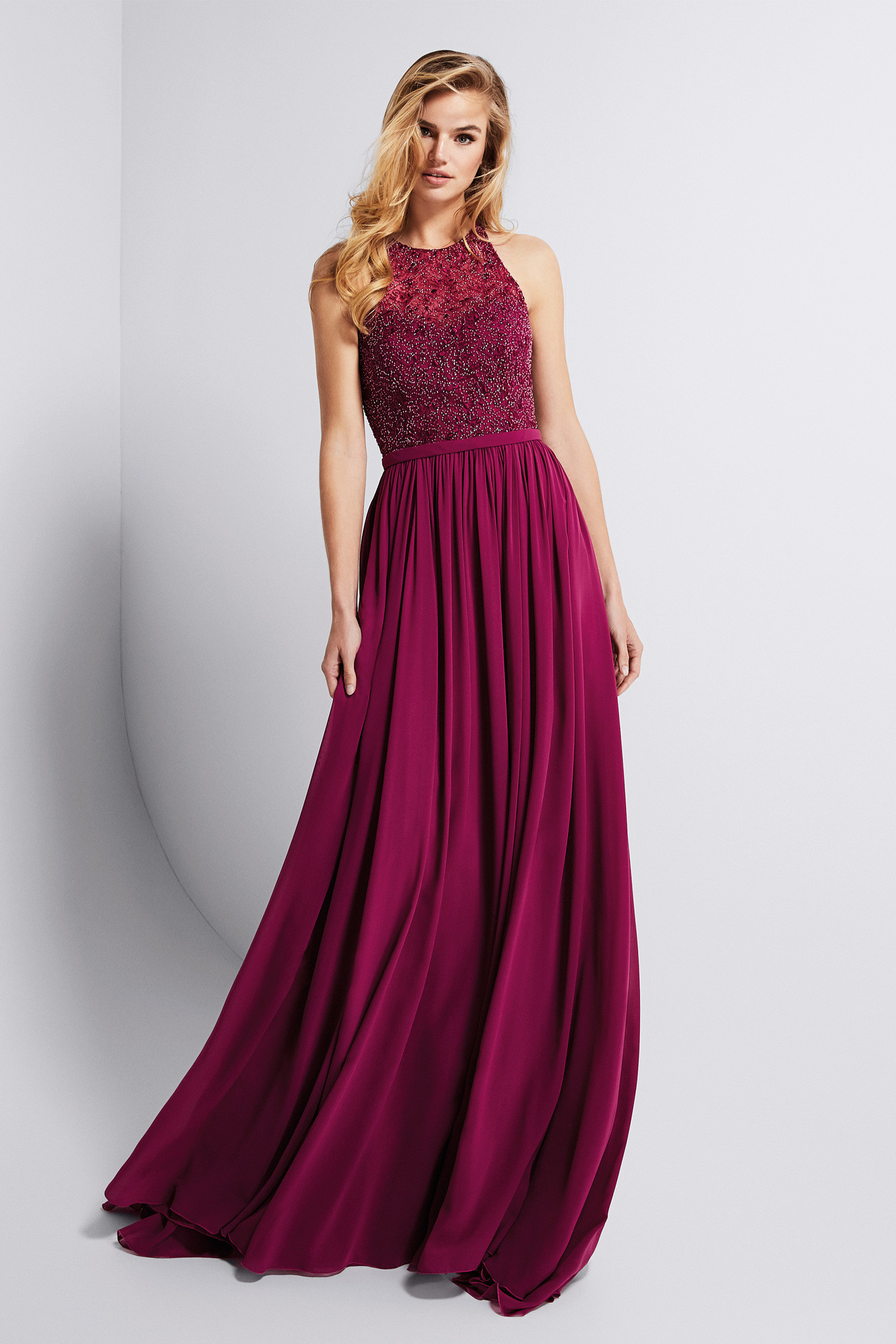 Luxury Beaded Top Long A-line Chiffon Prom Dress