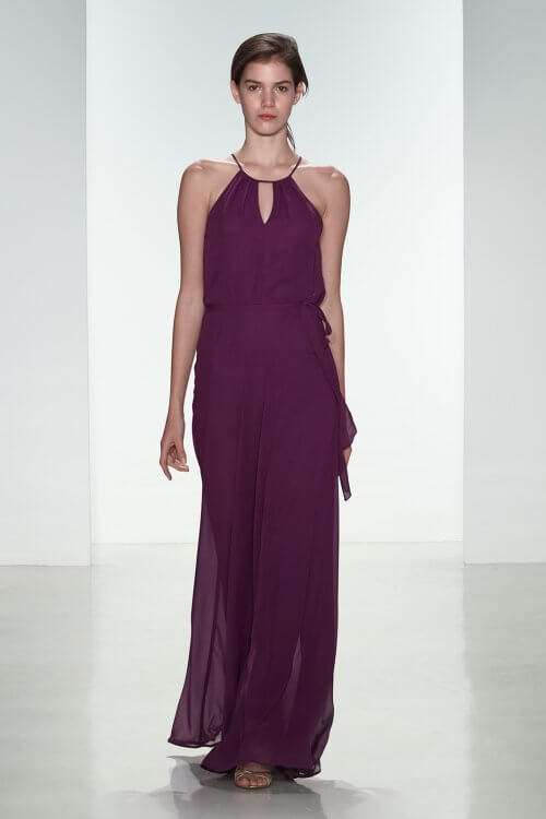 Long Halter Neck Sleeveless Grape Chiffon Bridesmaid Dress
