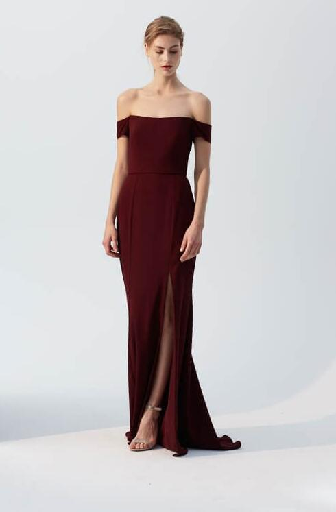 Simple Burgundy Chiffon Long Off Shoulder Bridesmaid Dress with Slit