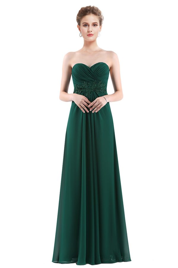 Empire Sweetheart Neckline Long Dark Green Prom Dress with Lace Appliques