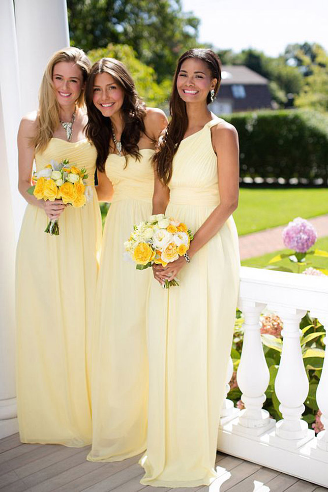 Pretty One Shoulder Sleeveless A-line Daffodil Long Chiffon Bridesmaid Dress