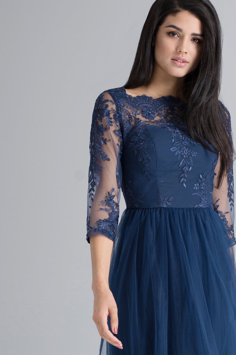 3/4 Sleeves Navy Blue Long Tulle Bridesmaid Dress