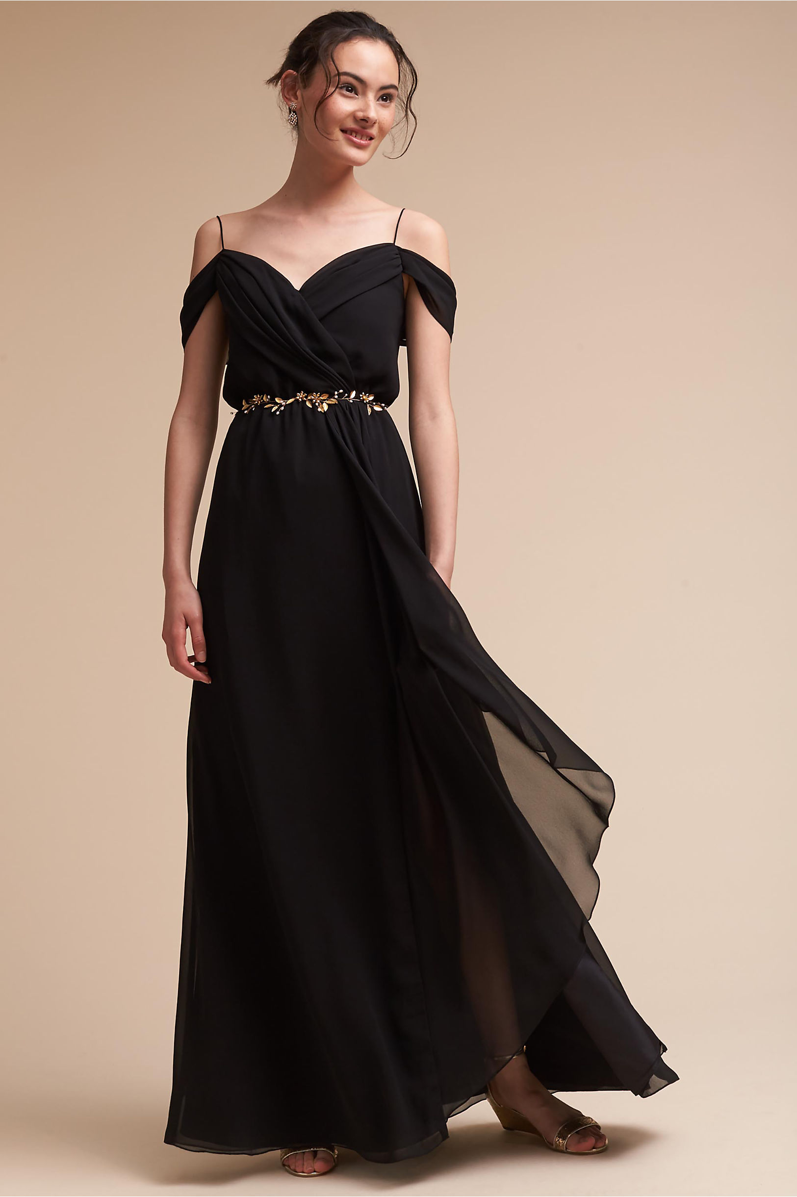 Black Off Shoulder Sleeveless A-line Long Chiffon Bridesmaid Dress with Crystal Belt