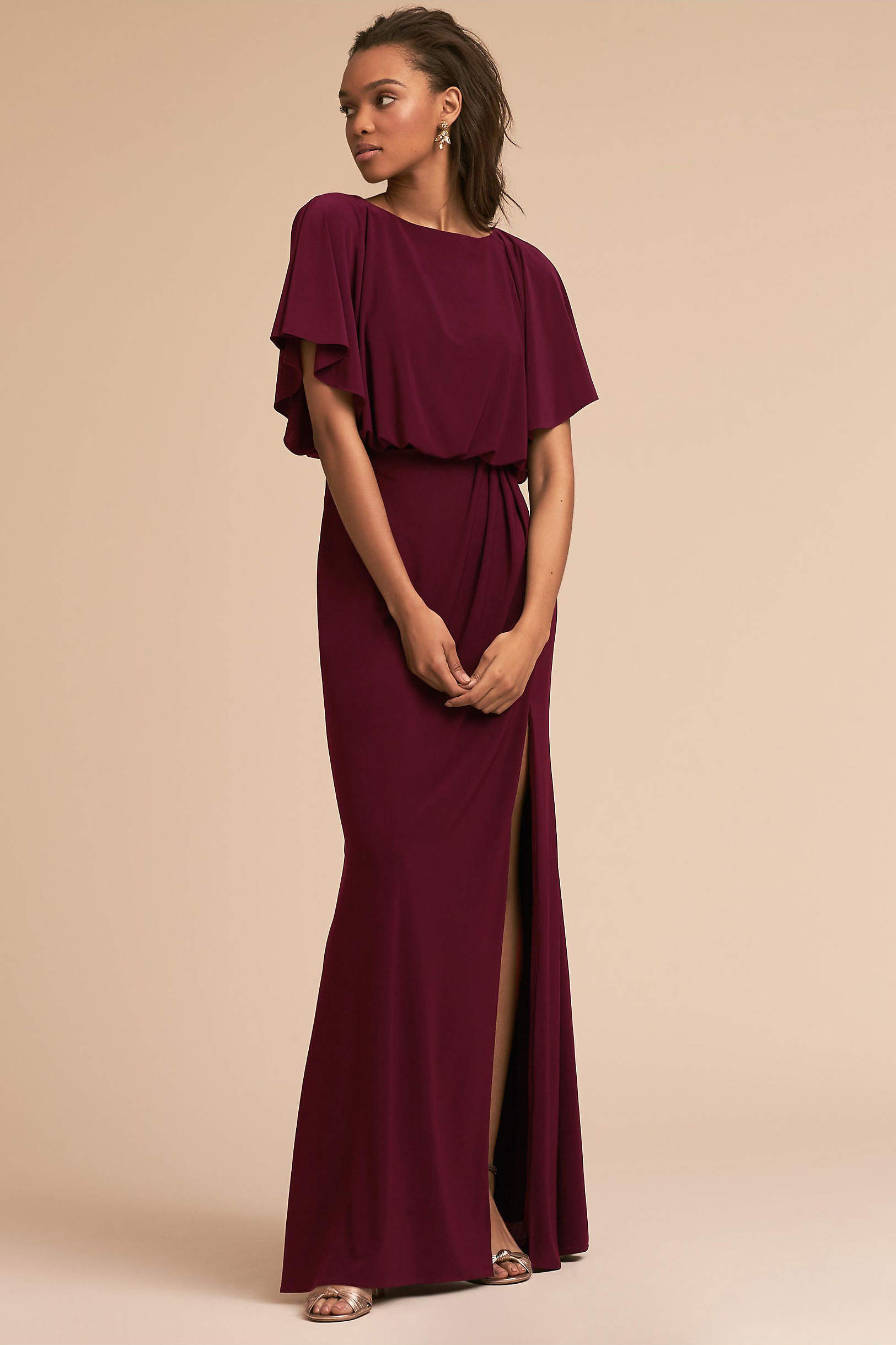 Burgundy Flutter Short Sleeves Sheath Long Chiffon Bridesmaid Dress with Slit