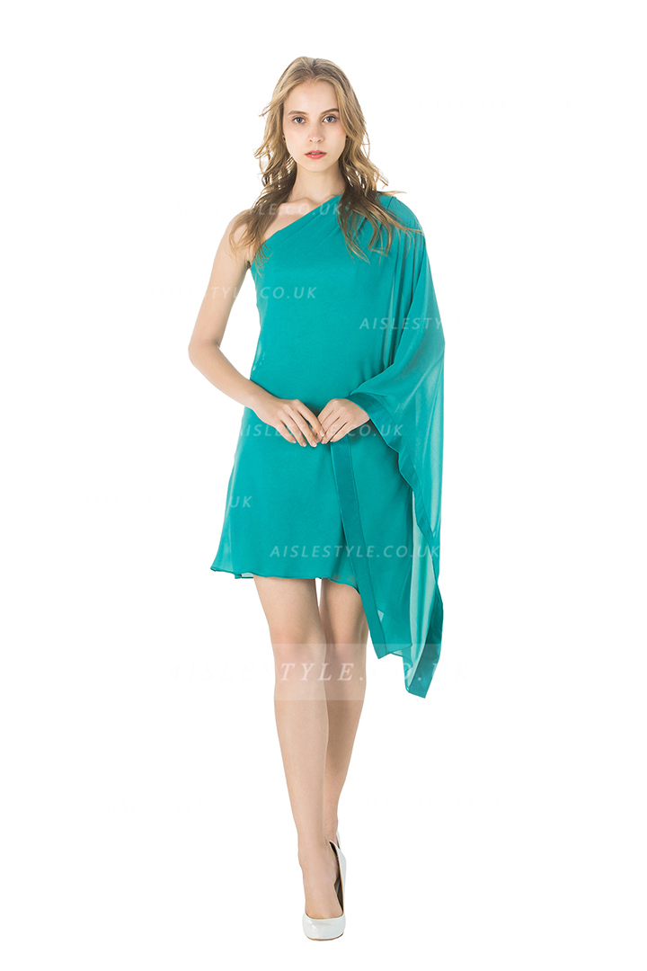 Sleeveless One Shoulder Jade One Sleeved Chiffon Cocktail Dress