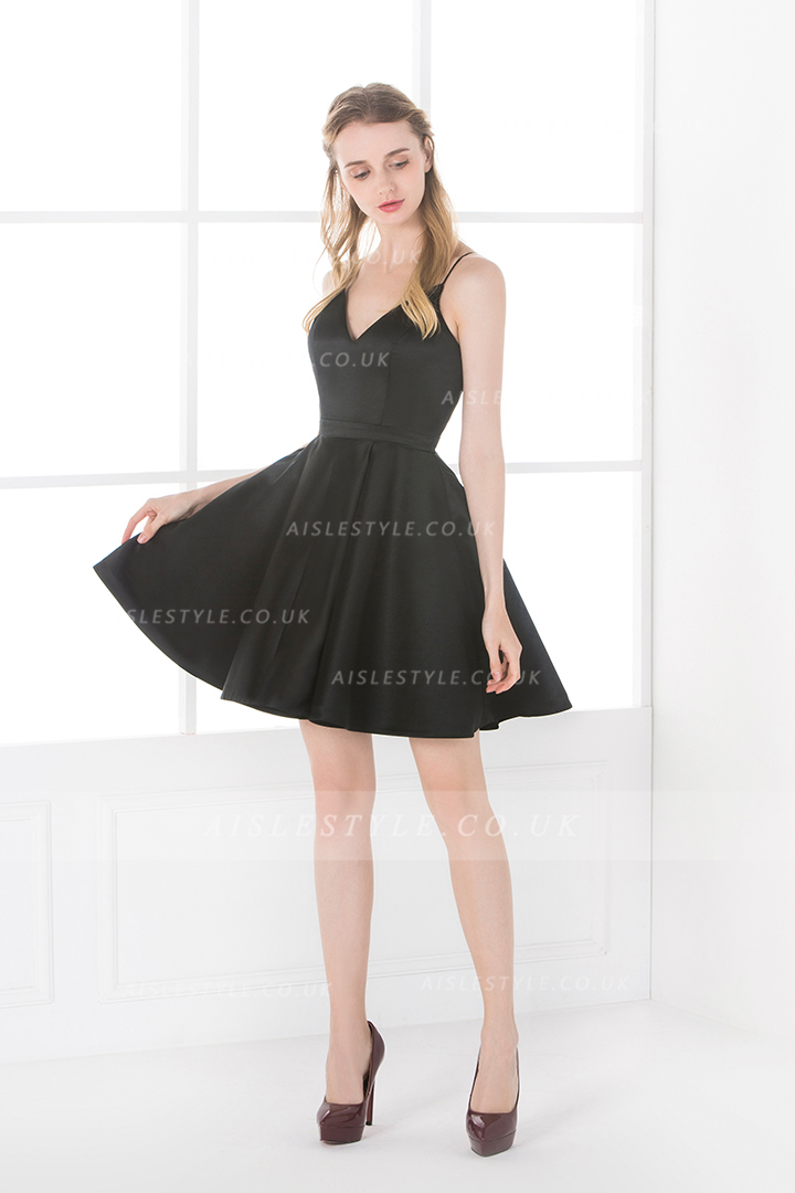Simple Black Short Spaghetti Straps A-line Satin Bridesamid Dress