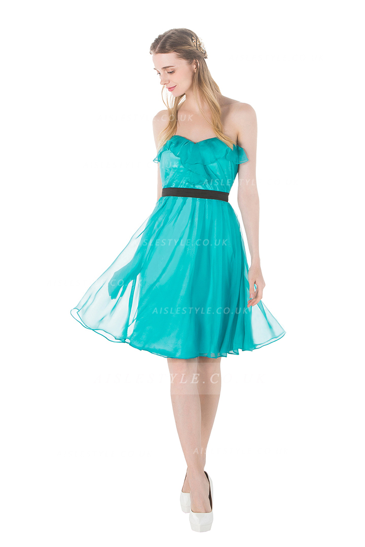Strapless Ruffles A-line Knee Length Turquoise Chiffon Bridesamid Dress with Ribbon