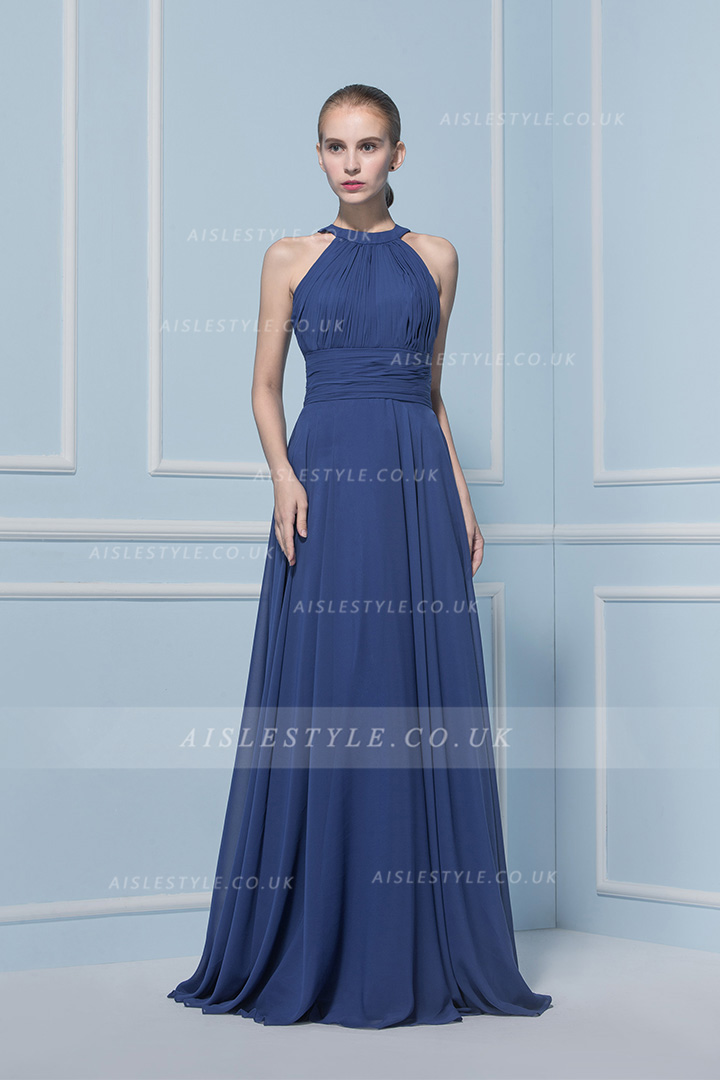 A-line Jewel Sleeveless Pleated Long Bridesmaid Dress