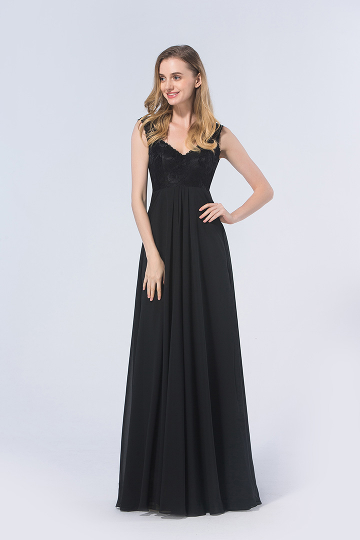 Floor-length Natural Sleeveless A-line Lace Top Bridesmaid Dresses