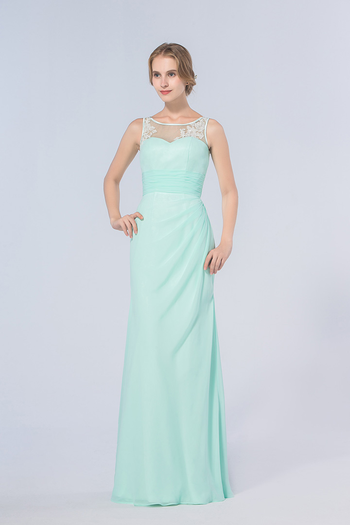 Illusion Scoop Neck Lace Appliqued Sheath Mint Green Chiffon Long Bridesmaid Dress