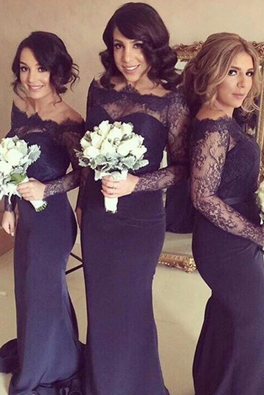 Off Shoulder Long Sleeve Lace Top Trumpet Bridesmaid Dress