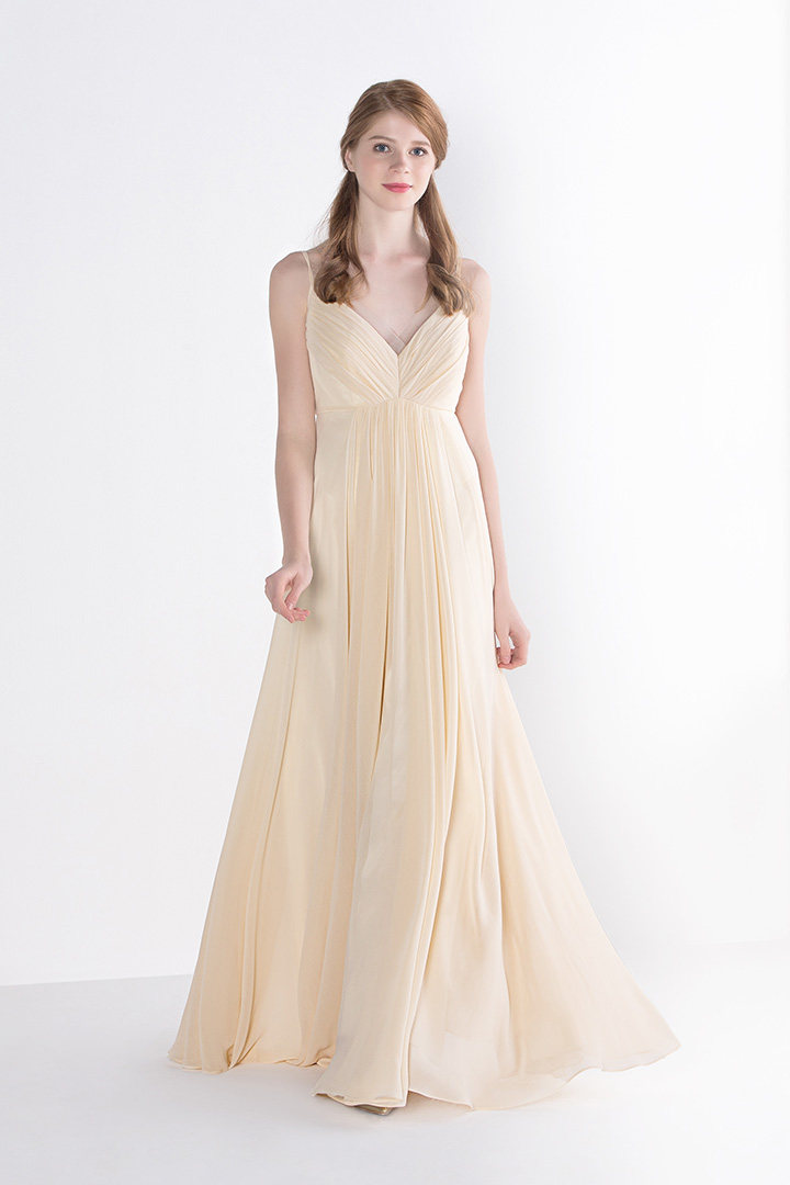 A-line V-neck Sleeveless Pleated Long Chiffon Bridesmaid Dress